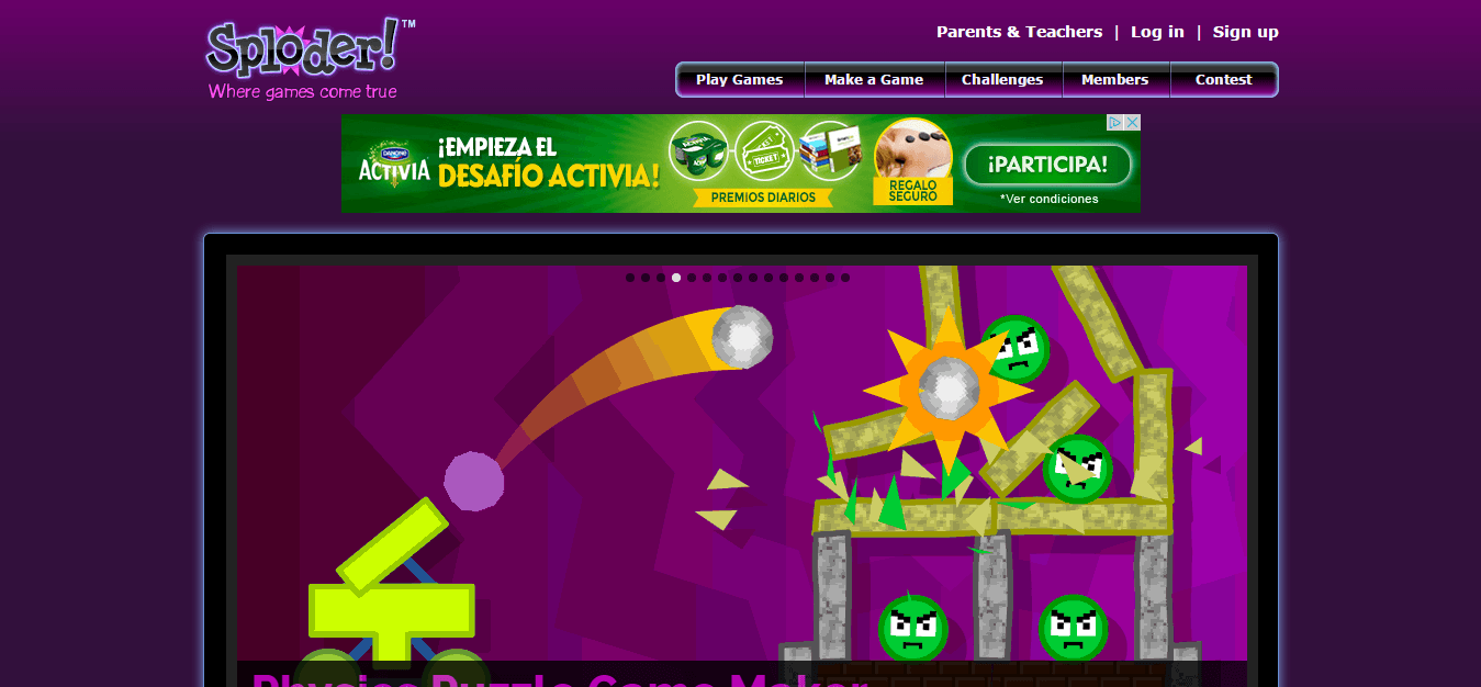 Sploder   Make your own Games  Play Free Games pagina